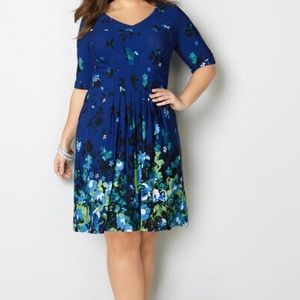 Floral, Pleated Fit and Flare Dress by Avenue